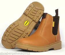 Mens Tan Brown Leather Steel Toe Cap Safety Work Slip On Ankle Boots Shoes UK7-8