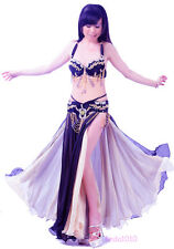 Halloween Belly Dance Costume Set Bra Belt Hip Scarf Bollywood Carnival 2 PCS