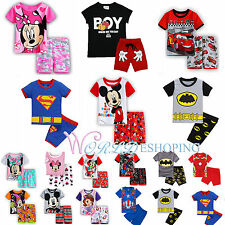 Baby Kids Boys Girls Cartoon Superhero Pajamas Set T-shirt Shorts Pants Outfits