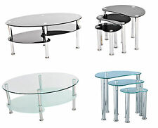 Glass Coffee Table Nest Side Tables Black Clear Chrome Cara Oval Set Living Room