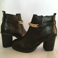NEW Kurt Geiger Miss KG Shelly Black Gold Chain Zip Ankle Boots Size 4 37 5 38