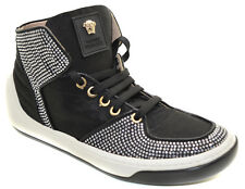 YOUNG VERSACE YSF0459 BLACK LEATHER HIGH TOP LACE UP SHOES