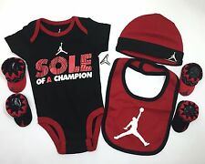 AIR Jordan 5pc BOYS Outfit Gift Set Newborn Bodysuit, Bib, Cap and Booties 0-6M