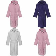 GIRLS HOODED BATHROBE 100% EGYPTIAN COTTON VELOUR TERRY TOWELLING GOWN ROBE