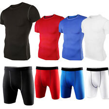 Mens T-shirt Pants Compression Under Base Layer Fitness Sports Gear Athletic Top