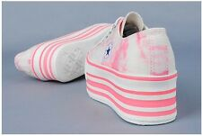 Ladies Women Fashion Sneakers Shoes Flats Platform Casual Athletic Trainer Laces