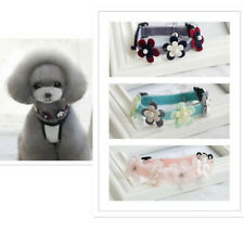 Pet Puppy Dog Cat Neck Collar with Artificial Colorful Flower Pearl Bell Decor