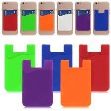 Adhesive Silicone Credit Card Pocket Money Pouch Holder Case For Samsung HTC