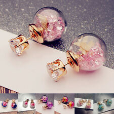 Women's Glass Earring Rhinstone Ear Stud Dried Flower Piercing Jewelry