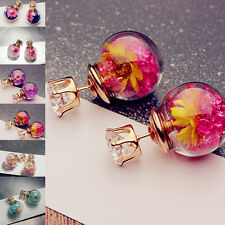 Women's Dried Flower Rhinstone Ear Stud Glass Earring Piercing Jewelry