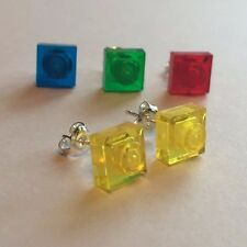 A PAIR  OF LEGO ® BRICK SQUARE EARRINGS - CHOOSE YOUR COLOUR - TRANSLUCENT