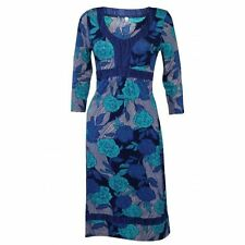 NEW PER UNA M&S STUNNING BLUE GREEN FLORAL JERSEY DRESS SIZE 8 - 24