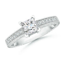 Forever Brilliant Moissanite Solitaire Accents Ring with milgrain 14k White Gold