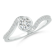 Round Diamond Solitaire Promise Ring with Accents 14k White Gold/ Platinum
