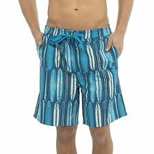 Mens Boys Surf Board Pattern Print Quick Dry Lined Swim Shorts Trunks (M-XXL)