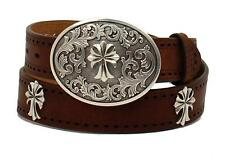 Ariat Western Womens Belt Leather Perforated Cross Conchos Tan A1525208