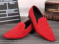 Mens Stylish Rivets Spike Chunky heels Slip on Loafers Casual Shoes Oversize new