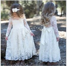 Pageant Flower Girls Wedding Bridesmaid Long Sleeves Floral Lace Gown Long Dress