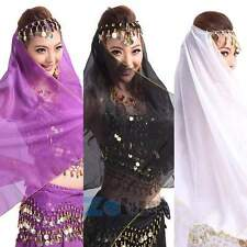 Belly Dance Head Scarf Headpiece Chiffon Beads Coins Bollywood Costume 11 Colors