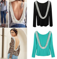 Fashion Women Sexy Backless Lace T-shirt Girl Long Sleeve Tops Blouse Clothes