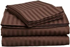 Comfort Bedding 1000 TC Egyptian Cotton 3PC's Duvet Cover Set Chocolate Stripe
