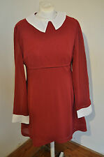 Mod dress - 1960s vintage inspired burgundy & white dress by Pop Boutique