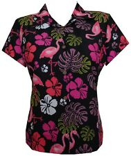 Hawaiian Shirt Women Flamingo Leaf Print Aloha Beach Blouse