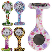 Fashion Patterned Silicone Nurses Brooch Fob Pocket Watch Stainless Dial Showy
