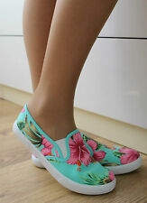 LADIES TRAINERS PUMPS FLATS SLIP ON CANVAS SKATER WIDE FIT SHOES CASUAL SIZE