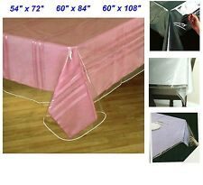 Clear Vinyl Tablecloth Heavy Duty Plastic Table Protector Cover Spills Multiple