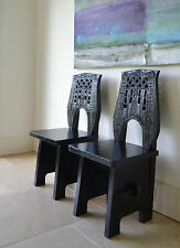A Pair of African Tribal Side Hall Console Stool Coffee Lamp Table Chairs 2 Two