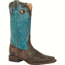 ROCKY Women's Brown Distressed Square Toe Blue Turquoise Leather Boots 5232 NIB