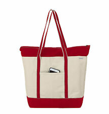 Deluxe Medium Heavy Duty 24oz Natural Canvas Boat Tote / Beach Bag