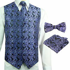 Purple / Black Paisley Tuxedo Dress Vest Waistcoat & Neck tie & Bowtie And Hanky