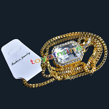 """Mens Gold Plated Iced Out Black Ruby Octagon Pendant Hip-Hop 24"""" Rope Chain Set"""