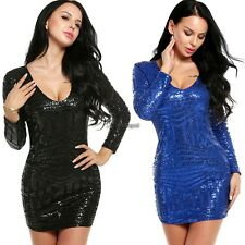 Womens V-Neck Long Sleeve Sequined Cocktail Bodycon Mini Dress WT8801
