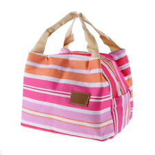 Insulated Lunch Stripe Bag Tote Cooler Thermal Picnic Food Drink Holder Strip