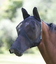 Shires Fine Mesh Fly Mask With Ears & Nose Extension, Black, White, SML PONY-XFU