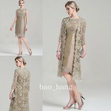 Lace Mother of Bride Dress Suit Knee Length Jacket 2 Pieces Formal Evening Gowns