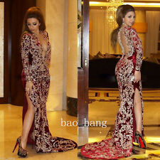 Mermaid Red Evening Prom Dress Split Silt Formal Party Ball Gowns Appliques 2016