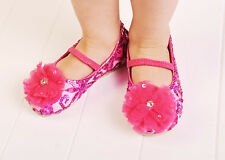COASTAL PROJECTIONS FUSCHIA PINK SEQUIN LACE TULLE PUFF GIRLS SHOES 0 1 4 5 7 8