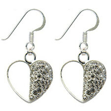 Silver Half Heart Earrings with CZ Crystals - FREE Velvet Bag