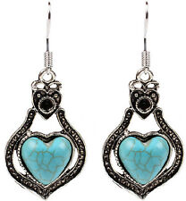 Natural Turquoise Stones Silver Plated Heart Design Dangle Earrings - FREE V.Bag