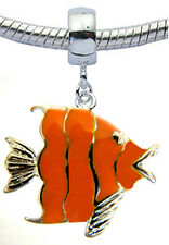 Silver Plated Fish Charm with Enamel Paint Fits Euro-Brand Bracelet and Necklace