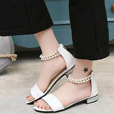 Sandals Women Summer Shoes Womens Flip Beaded Pearl Flat Sandal Solid Shoes Size