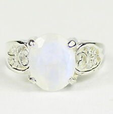 Rainbow Moonstone, 925 Sterling Silver Ladies Ring, SR369-Handmade