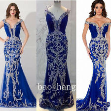 Sparkly Sequins Rhinestones Evening Prom Gowns Mermaid Royal Blue Party Dresses
