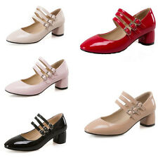 Womens Patent Leather Buckle Strap Office Dress Shoes Block Mid Heels Oxfords