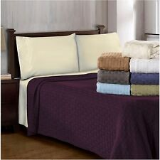 All-Season Cotton Blanket Lightweight Bedspread Basket Weave Bed Throw Blankets