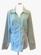 Ashley Stewart Green Red Blouse Size 14 Stretch 3 Button Cuff Long Sleeve